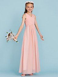 cheap -Sheath / Column V Neck Floor Length Chiffon Junior Bridesmaid Dress with Criss Cross / Pleats / Wedding Party / Open Back