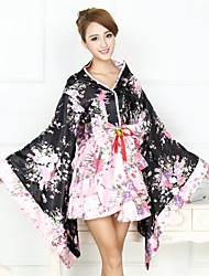 cheap -Maid Costume Wa Lolita Vintage Inspired Dress Japanese Traditional Kimono Women's Girls' Japanese Cosplay Costumes Floral Print Fashion Long Sleeve Asymmetrical