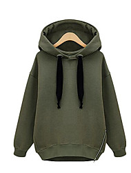 cheap -Women's Hoodie Solid Colored Hoodies Sweatshirts  Cotton White Army Green / Fall