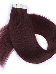 cheap -Tape In Human Hair Extensions Straight Human Hair Human Hair Extensions Women's Dark Wine