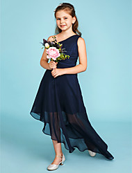 cheap -A-Line One Shoulder Asymmetrical Chiffon Junior Bridesmaid Dress with Side Draping / Wedding Party