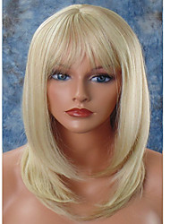 cheap -Synthetic Wig Straight Straight Layered Haircut With Bangs Wig Blonde Medium Length Light Blonde Synthetic Hair Women's Natural Hairline Blonde