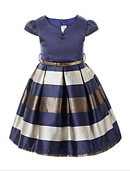 cheap -Kids Girls' Stripes Daily Solid Colored Short Sleeve Dress Navy Blue / Cotton