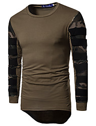 cheap -Men's Daily Sports Weekend Active Slim T-shirt - Camo / Camouflage Round Neck Black / Long Sleeve