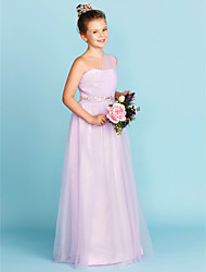 cheap -A-Line / Princess One Shoulder Floor Length Tulle Junior Bridesmaid Dress with Beading / Sash / Ribbon / Criss Cross / Wedding Party / Natural