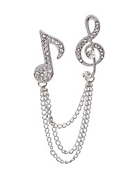 cheap -Women's Brooches Music Music Notes Ladies Rock Fashion Rhinestone Brooch Jewelry Silver For Casual Stage