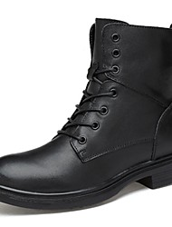 cheap -Men's Bootie Leather Fall / Winter Casual Boots Booties / Ankle Boots Black / Party & Evening / Lace-up / Party & Evening / Combat Boots