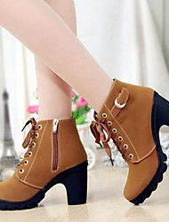 cheap -Women's Boots Fall / Winter Chunky Heel Round Toe Comfort Casual PU Black / Yellow / Red / EU39