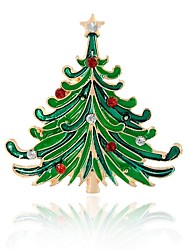 cheap -Synthetic Diamond Brooches Tree of Life Brooch Jewelry Green For Christmas Evening Party