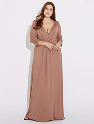 cheap -Women's Maxi Plus Size Wine Brown Dress Party Loose Sheath Solid Colored Deep V L XL