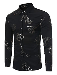 cheap -Men's Party Daily Club Slim Shirt - Floral Print Classic Collar Black / Long Sleeve
