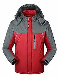 cheap -Men's Hiking Jacket Winter Outdoor Windproof Breathable Rain Waterproof Wear Resistance Winter Jacket Top Full Length Visible Zipper Camping / Hiking Climbing Cycling / Bike Black / Blue / Red Hiking