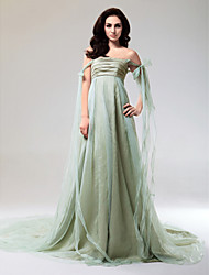 cheap -Ball Gown Strapless / Off Shoulder Court Train / Watteau Train Organza / Taffeta Dress with Bow(s) / Ruched by TS Couture®