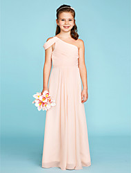 cheap -A-Line / Princess One Shoulder Floor Length Chiffon Junior Bridesmaid Dress with Sash / Ribbon / Side Draping / Wedding Party / Open Back