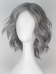 cheap -Synthetic Wig Cosplay Wig Loose Wave Loose Wave Monofilament L Part Wig Short Grey Synthetic Hair Men's Gray miss u hair