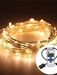 cheap -5m String Lights Outdoor String Lights 100 LEDs Warm White RGB White Waterproof Remote Control RC Dimmable <5 V IP65 Color-Changing