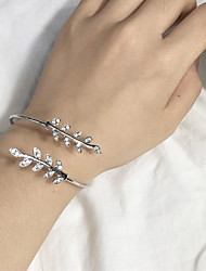 cheap -Women's Cuff Bracelet Leaf Ladies Fashion Alloy Bracelet Jewelry Silver / Rose Gold For Daily
