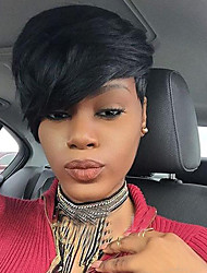 cheap -Synthetic Wig Straight Straight With Bangs Wig Short Jet Black Synthetic Hair 8 inch Women's African American Wig With Bangs Black