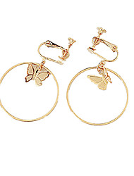 cheap -Women's Clip on Earring Butterfly Ladies Personalized Fashion Earrings Jewelry Gold / Silver For Daily Casual
