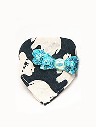 cheap -Cat Dog Collar Adjustable Portable Breathable Flower / Floral Cartoon Bowknot Fabric Beige Red Black / White