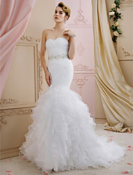 cheap -Mermaid / Trumpet Sweetheart Neckline Sweep / Brush Train Organza Strapless Open Back Made-To-Measure Wedding Dresses with Sashes / Ribbons / Cascading Ruffles 2020