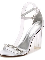 cheap -Women's Wedding Shoes Glitter Crystal Sequined Jeweled Chunky Heel Round Toe Basic Pump Ankle Strap Transparent Shoes Wedding Dress Party & Evening Satin Rhinestone Pearl Imitation Pearl Summer White