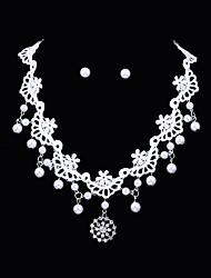 cheap -Women's Pearl AAA Cubic Zirconia Stud Earrings Necklace Flower Luxury Vintage Cubic Zirconia Silver Plated Earrings Jewelry White For Wedding Party