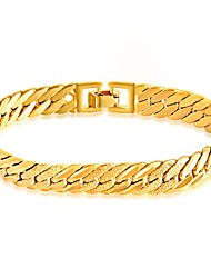 cheap -Men's Chain Bracelet Bracelet Simple Style Fashion 18K Gold Plated Bracelet Jewelry Gold For Daily Casual / Stainless Steel