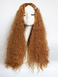 cheap -Synthetic Wig Wavy Jerry Curl Jerry Curl Wavy Asymmetrical With Bangs Wig Blonde Long Strawberry Blonde Synthetic Hair Women's Natural Hairline Blonde