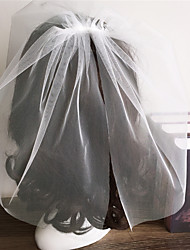 cheap -Two-tier Cut Edge Wedding Veil Blusher Veils with Ruffles Tulle / Birdcage