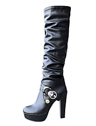 cheap -Women's Boots Stiletto Heel Boots Platform Chunky Heel Round Toe Knee High Boots Fashion Boots Dress Party & Evening PU Rhinestone Imitation Pearl Buckle Solid Colored Dark Brown White Black