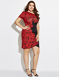 cheap -Women's Plus Size Party Street chic Bodycon Dress - Floral V Neck Summer White Red XL XXL XXXL