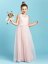 cheap -A-Line / Princess Jewel Neck Floor Length Tulle Junior Bridesmaid Dress with Appliques / Pleats / Wedding Party / See Through