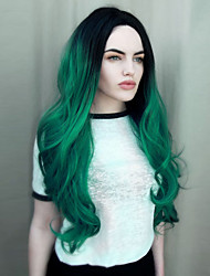 cheap -Synthetic Wig Wavy high quality middle long wave ombre black to dark green color wigs fashion women wigs natural hair synthetic wigs
