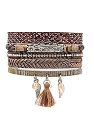 cheap -Women's Leather Bracelet Bohemian Leather Bracelet Jewelry Gray / Brown / Pink For Gift Daily / Rhinestone