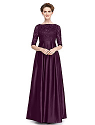 cheap -A-Line Bateau Neck Floor Length Lace / Stretch Satin Half Sleeve Plus Size / Elegant Mother of the Bride Dress with Beading 2020 / Illusion Sleeve