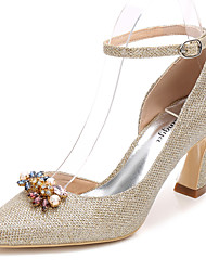 cheap -Women's Wedding Shoes Chunky Heel Pointed Toe Rhinestone / Crystal Glitter Basic Pump / Ankle Strap Spring / Fall Gold / Silver / Party & Evening / EU39
