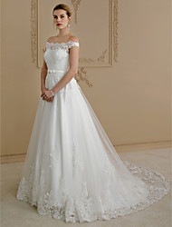 cheap -Ball Gown Off Shoulder Court Train Lace / Tulle Cap Sleeve Sparkle & Shine / Floral Lace Made-To-Measure Wedding Dresses with Bow(s) / Buttons / Sashes / Ribbons 2020 / Royal Style
