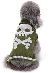 cheap -Dog Sweater Winter Dog Clothes Green Costume Chinlon Skull Halloween XXS XS S M L XL