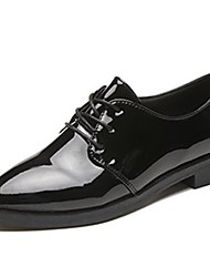 cheap -Women's Oxfords Low Heel Pointed Toe Lace-up Patent Leather Comfort Fall Black / Burgundy