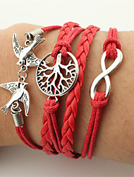 cheap -Men's Women's Wrap Bracelet Leather Bracelet Twisted woven Bird Infinity Vintage Bohemian Fashion Leather Bracelet Jewelry Red For Christmas Wedding Party Birthday Engagement Gift