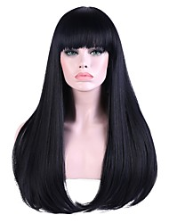 cheap -Synthetic Wig Bangs Straight Straight With Bangs Wig Long Black / Blue Synthetic Hair Women's Highlighted / Balayage Hair Natural Hairline Black