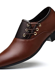 cheap -Men's Formal Shoes Dress Shoes Fall / Winter Business Party & Evening Office & Career Oxfords PU Black / Yellow / Brown / Split Joint / EU40