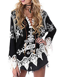 cheap -Women's Daily Weekend Casual Loose Blouse - Paisley Print V Neck White / Sexy