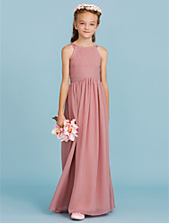 cheap -A-Line / Princess Crew Neck Floor Length Chiffon Junior Bridesmaid Dress with Draping / Ruched / Wedding Party / Open Back