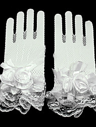 cheap -Lace / Net Wrist Length Glove Mesh / Bridal Gloves / Party / Evening Gloves With Floral / Ruffles