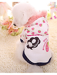 cheap -Dog Hoodie Winter Dog Clothes White Costume Down Cotton Fruit Casual / Daily XS S M L XL