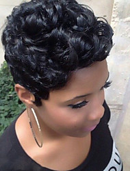cheap -Human Hair Blend Wig Short Curly Afro Short Hairstyles 2020 Berry Curly Afro Black African American Wig For Black Women Machine Made Women's Natural Black #1B