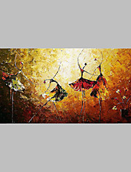 cheap -Hand-Painted People Horizontal Panoramic,Artistic Abstract Outdoor One Panel Canvas Oil Painting For Home Decoration