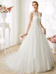 cheap -Ball Gown Wedding Dresses Bateau Neck Court Train Beaded Lace Regular Straps See-Through Beautiful Back with Beading Appliques 2021